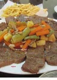 Steamed steak (bashamel or lemon sauce)