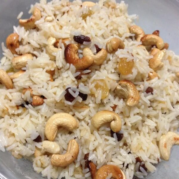 Dish Of Rice With Nuts &Raisins