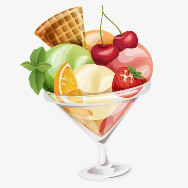 Ice cream with fruit salad