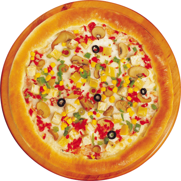 Pizza corn and mushrooms