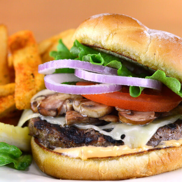 Burger with mushrooms &cheese