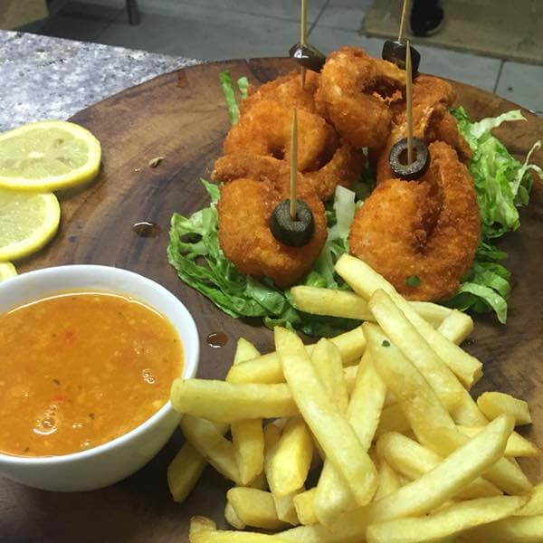 Shrimp Pane + Potatoes