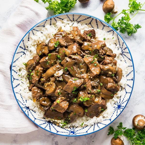 Stroganoff fillet calf + rice + vegetables