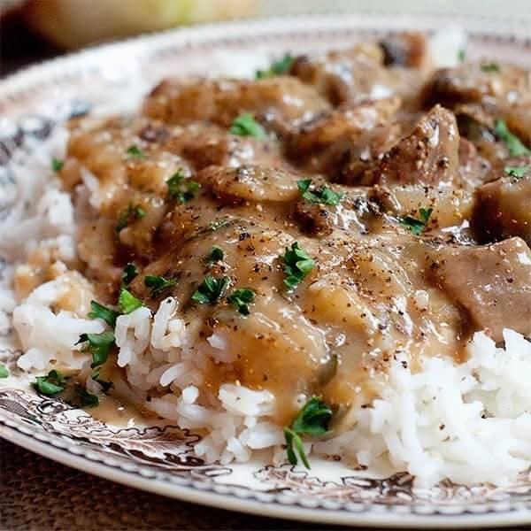 Stregnof chicken + rice + vegetables