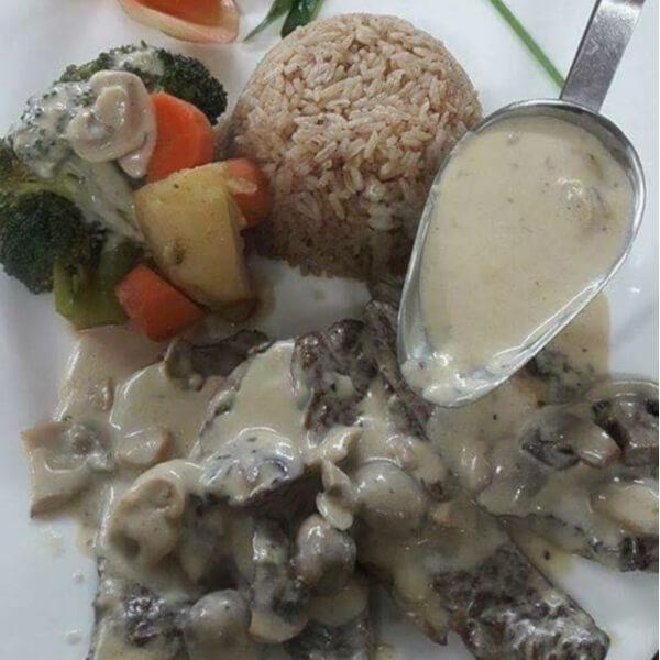 Steak Filet with mushrooms + rice + vegetables