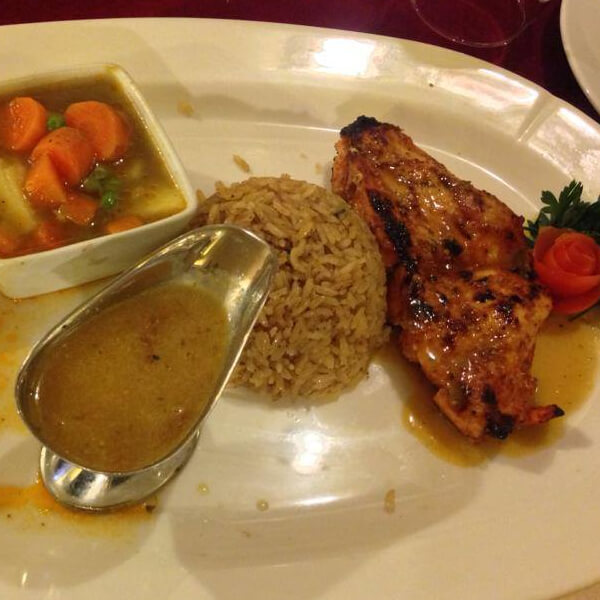Chicken Steak with garlic and sour + vegetables + rice