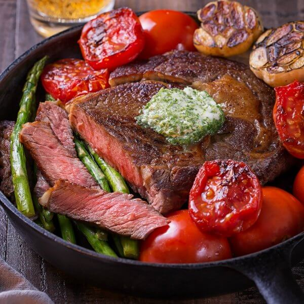 (Rib eye steak (sizzling