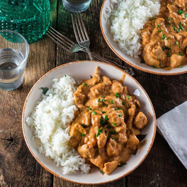 Chicken stroganoff with rice