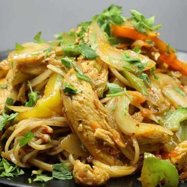 Chicken & Vegetable Spaghetti with Teriyaki Sauce