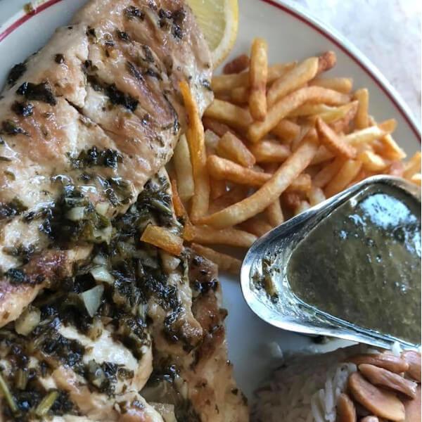 Chicken steak with garlic and coriander