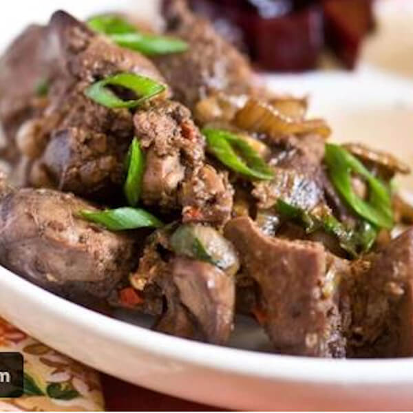 diced lamb liver with garlic