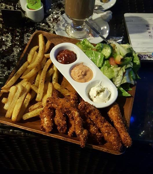 Chicken fingers stuffed with cheese