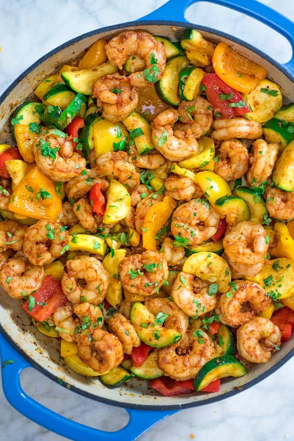 Shrimp with sauted vegetables