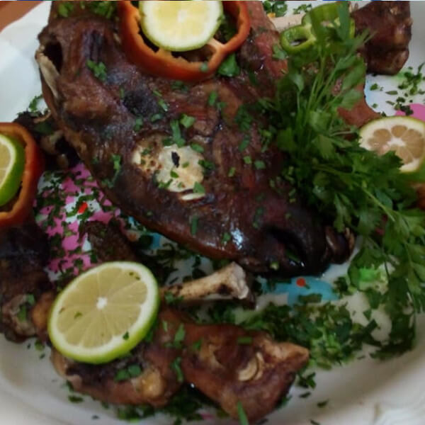 The ends of the lamb ( cooked ) for 5 people