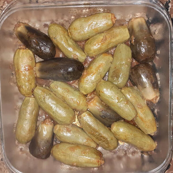 Zucchini and eggplant  (cooked ) - kilo for 4 people