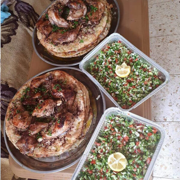Msakhan ( four loaves with one chicken and salad ) - for 5 people