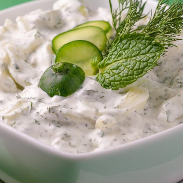 Yogurt with cucumber salad
