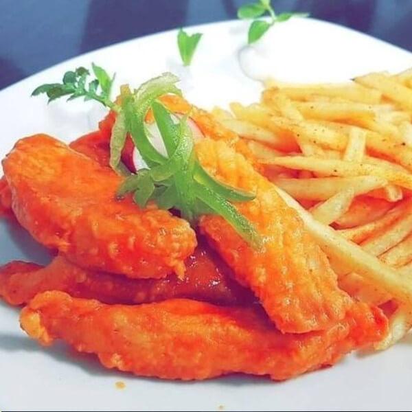 اصابع دجاج بفلو ( مع بطاطا )