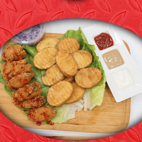 اجنحة دجاج10 قطع+بطاطا