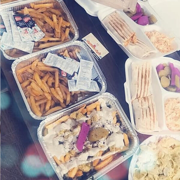 Order 5 sandwiches and get a free potato plate