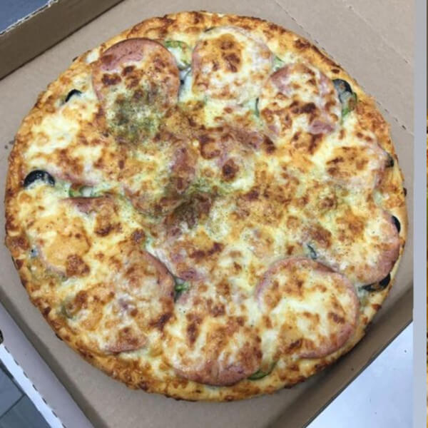 Salami pizza with vegetables