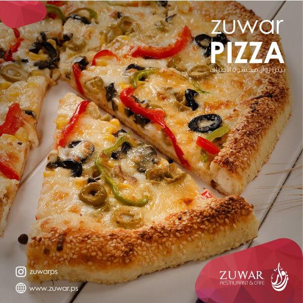 سلطة القيصر + بيتزا خضار وسط +اصابع دجاج + فوتتشيني الفريدو