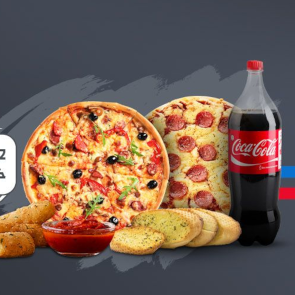 2 large pizza + cheese sticks + garlic bread + 1.25 liter cola